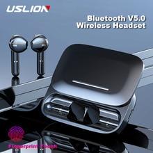 USLION TWS bezprzewodowy Bluetooth V5.0 słuchawki z mikrofonem etui z funkcją ładowania ładowarka Mini Stereo Sport bezprzewodowe słuchawki douszne