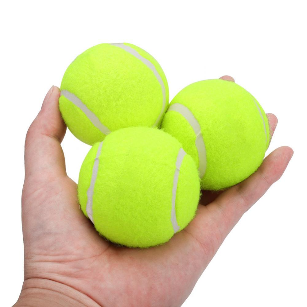 3Pcs/Pack Elastic Rubber Tennis Ball High Resilience Durable Tennis Practice Ball School Fun Club Competition Training Ball