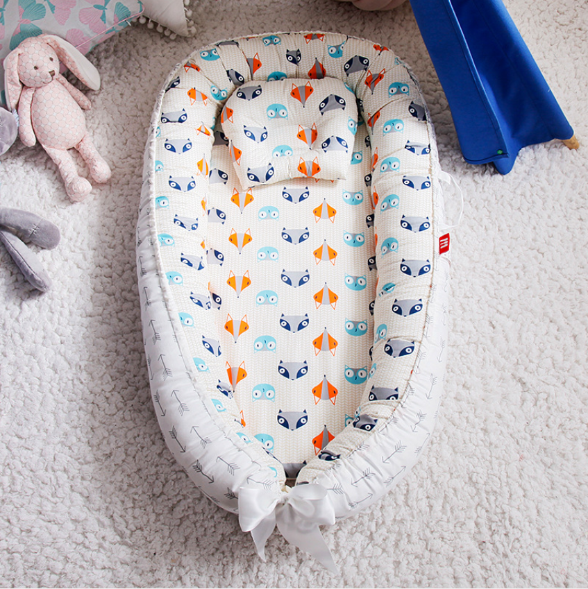 90*50cm Washable Cotton Baby Nest Bed Newborn Crib With Pillow Portable Baby Crib Babynest Bumper