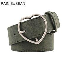 RAINIE SEAN Love Buckle Waist Belts Women Army Green Female Leather for Jeans Korean Fashion Ladies Accessories