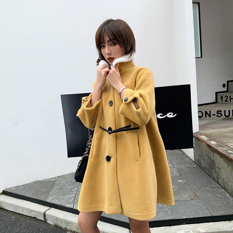 Nueva chaqueta de invierno 2019 abrigo de tela de gamuza de lana para mujer Falda larga de Cachemira Cuello de piel abrigo de lana mezcla excelente valor - 2