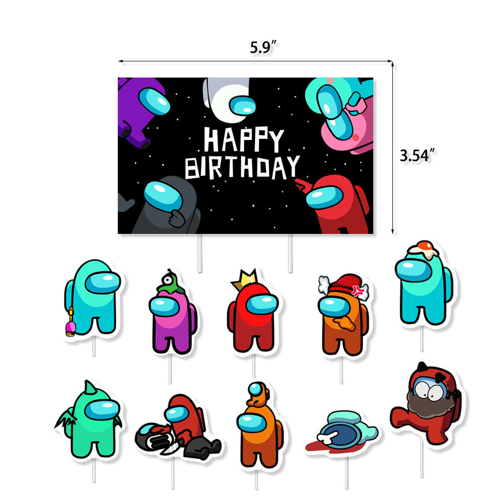 for Kids Among Us Birthday Party Among Us Party Decoration Set with Among Us Banner Among Us Balloons Among Us Cake Topper Among Us Cupcake Topper