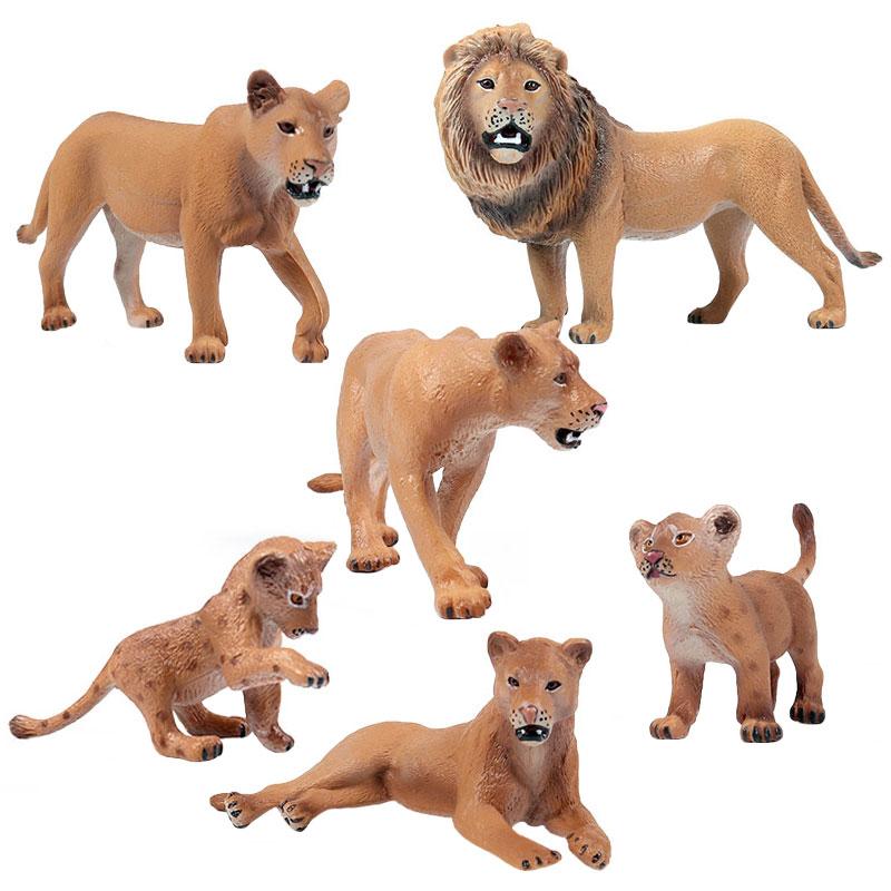 Modelo de juguetes educativos para niños, modelo de pradera de simulación, Animal salvaje, León, ciervo, Lobo, jirafa, orangután, cebra