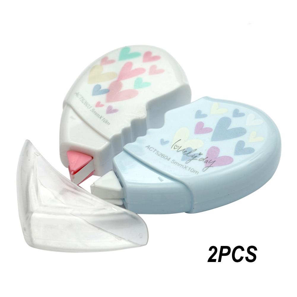 2 Pcs Office School Supplies Long Sticker Love Heart Kawaii Stationery 10M Portable Plastic Correction Tape