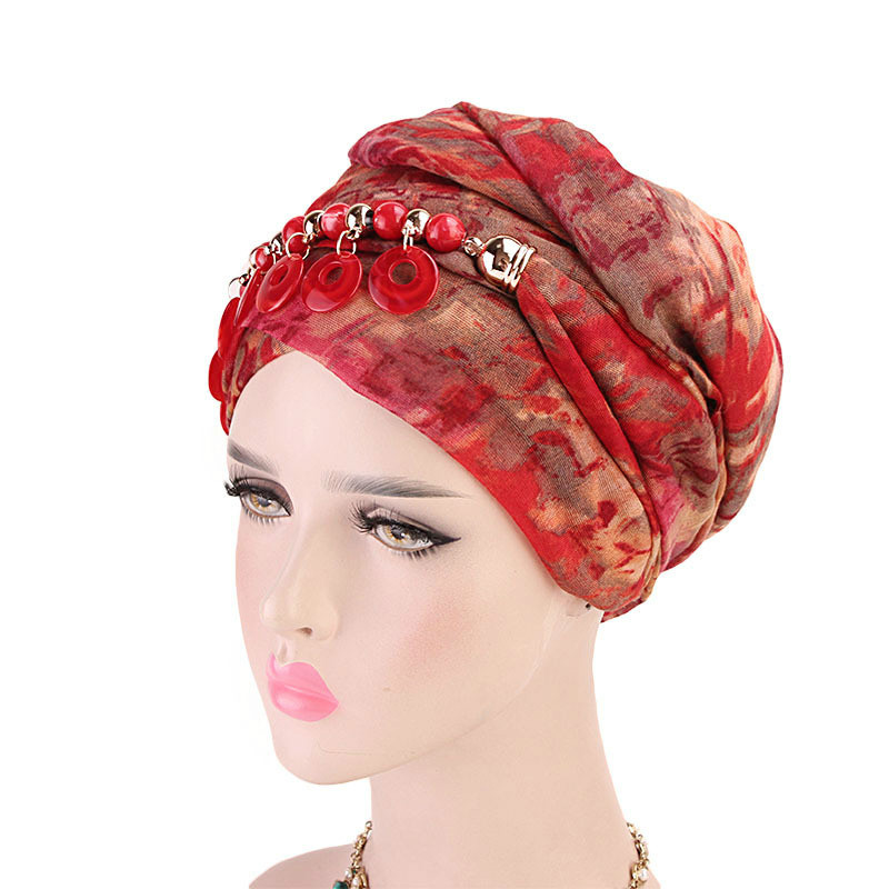 Women Fashion Scarf Hijab Hat Multi-style Decorative Jewelry Necklace  Beading Pendant Scarf Turban Hair Accessories Wholesale