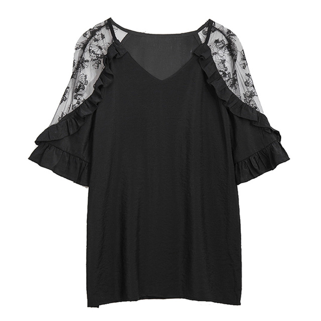 Plus Size Lace Patchwork V neck Tops Woman Summer Loose Ruffles Short Sleeve Office Lady Blouses Oversize Korean Style Shirts