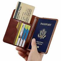 Acessórios de viagem titular do passaporte capa do vintage couro do plutônio das mulheres dos homens rfid business credit wallet armazenamento caso organizador cartão