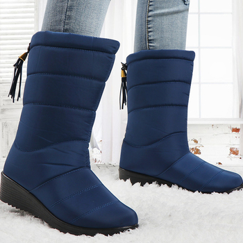 Winter Boots Women Mid-Calf Down Waterproof Ladies Snow Woman Rubber Wedge Botas Fur Warm Black Mujer Invierno 2020 - discount item  56% OFF Women's Shoes