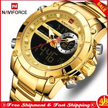 NAVIFORCE Fashion Watch dla mężczyzn Casual chronograf ze stali nierdzewnej męskie zegarki kwarcowe podwójny wyświetlacz męski zegar Relogio Masculino tanie tanio 24cm Moda casual QUARTZ NONE 3Bar Składane zapięcie z bezpieczeństwem CN (pochodzenie) Ze stopu 15 5mm Hardlex Papier