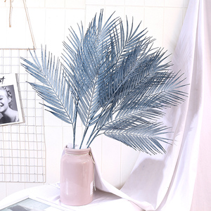 Artificial Fern Plants Plastic Tropical Palm Tree Leaves Branch Home Garden Decoration Photography Wedding Decor blue Leaves