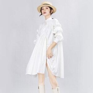 Image 2 - [Eem] kadın büyük boy boy pileli elbise yeni standı boyun uzun fener kollu gevşek Fit moda gelgit bahar sonbahar 2020 1A331