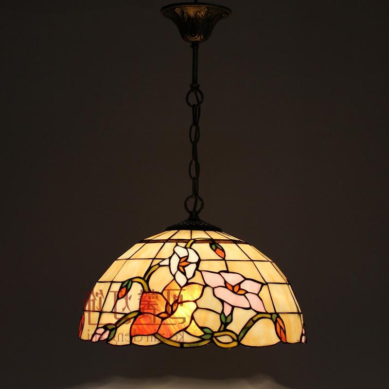 16 Inch Flesh Country Flowers Tiffany Pendant Light Stained Glass Lamp For Bedroom E27 110-240v lustre pendente