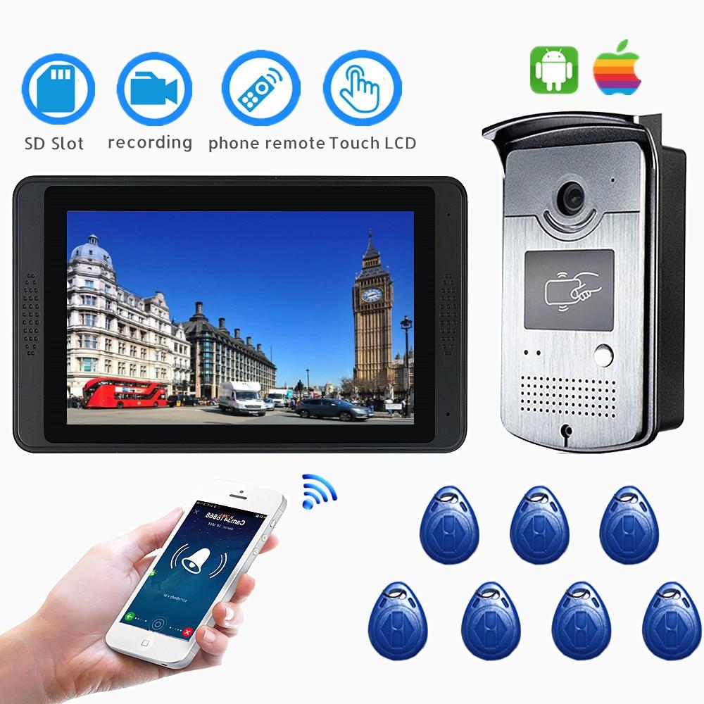 """IP Wifi Video Intercom Doorbell System Smart Video Doorphone Wireless 7"""" Touch Screen HD Wired Video Door Phone Camera RFID"""