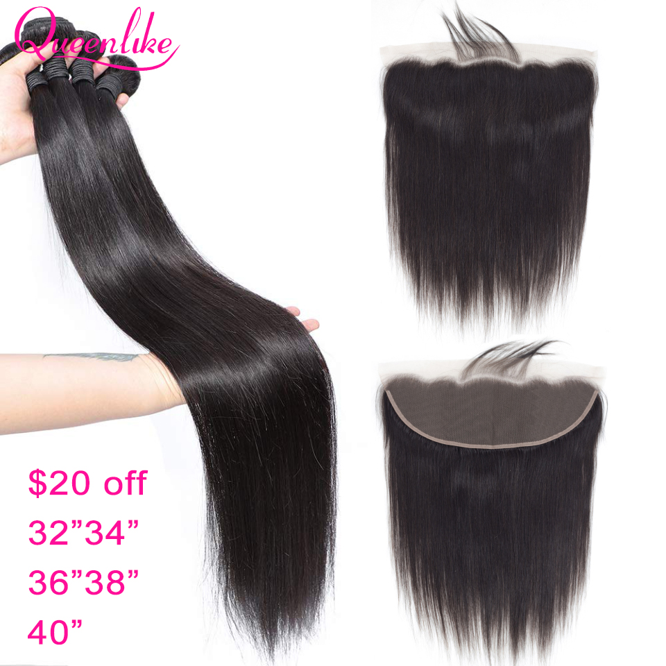32 34 36 38 40 Inch Long Length Straight Human Hair Bundles With Frontal Brazilian Remy Hair 13x4 13x6 Lace Frontal With Bundles