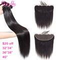 32 34 36 38 40 дюймов длинные прямые пряди человеческих волос с фронтальной бразильской Remy 13x4 13x6 пряди