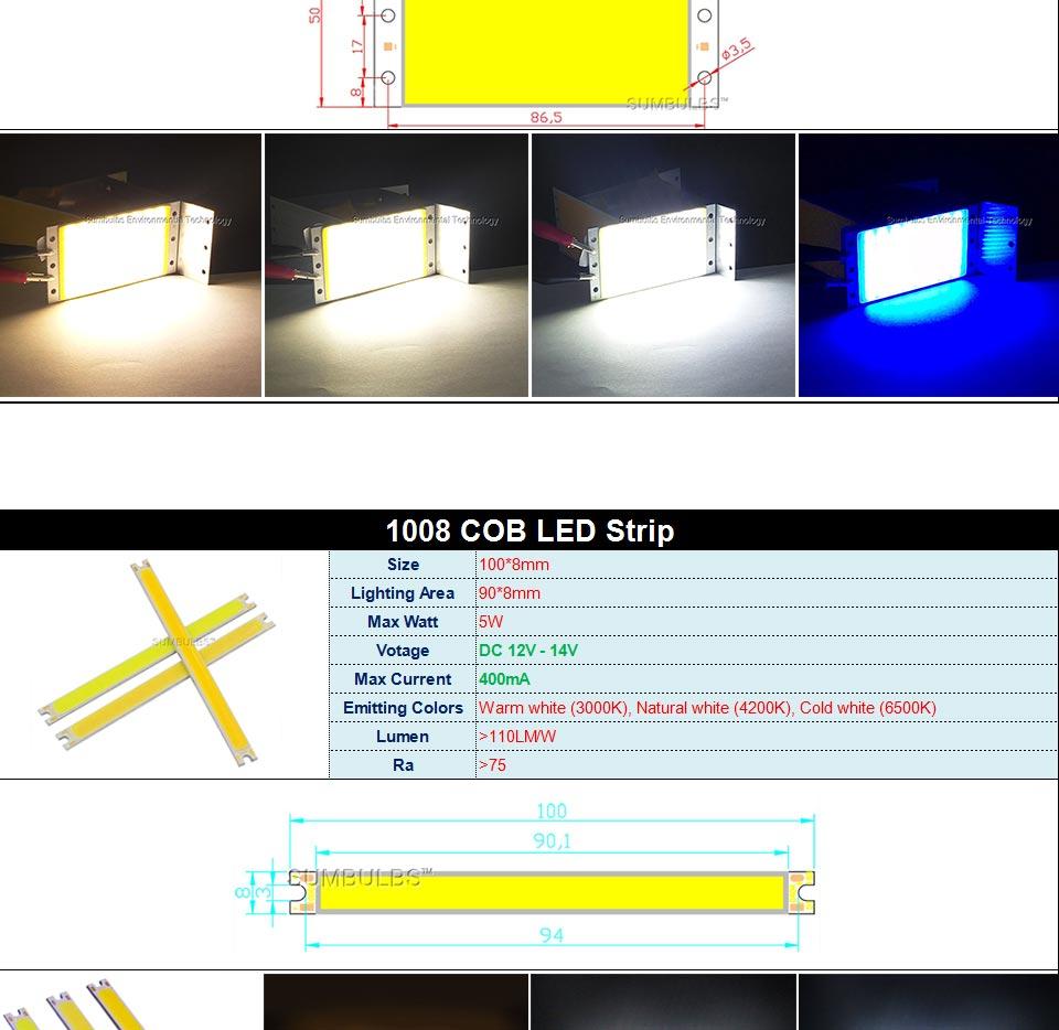 DC12V COB LED Strip Light Source 5W 10W 20W 50W 200W 300W LED Bulb White Blue Red Flip Chip COB Lamp DIY House Car Lighting 12V (3)