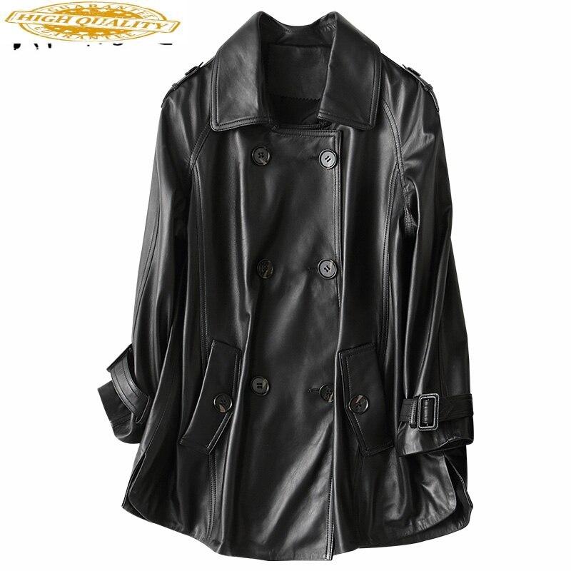 Spring Genuine Leather Jacket Women 2020 Fashion Real Sheepskin Coat Motorcycle Black Leather Female Jacket 69053 LW363