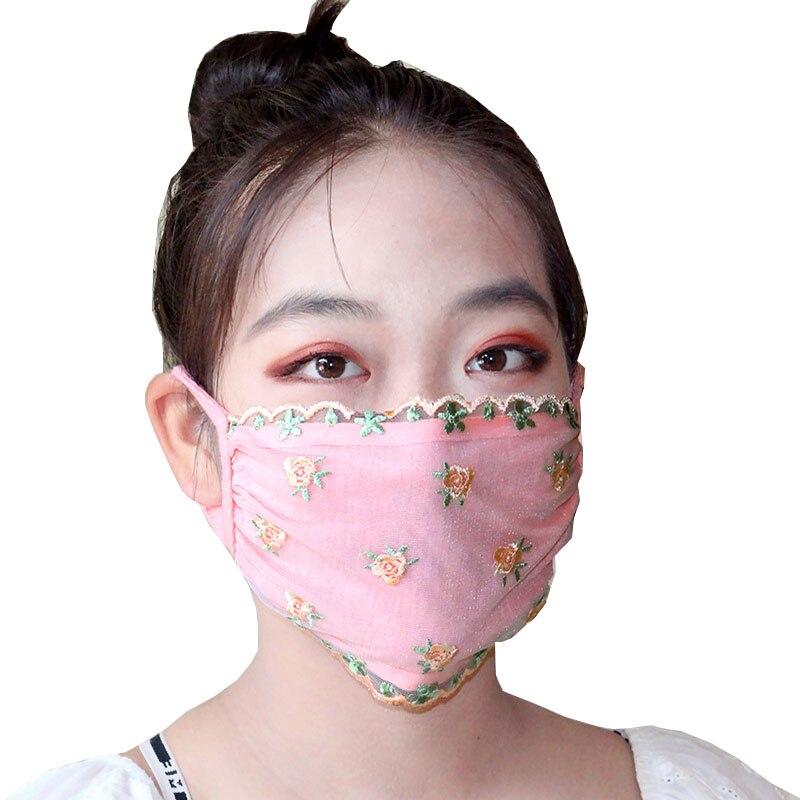Женская кружевная маска с цветочным принтом, хлопковая подкладка, кружевная маска из искусственного шелка, дышащая вышивка, Солнцезащитная...