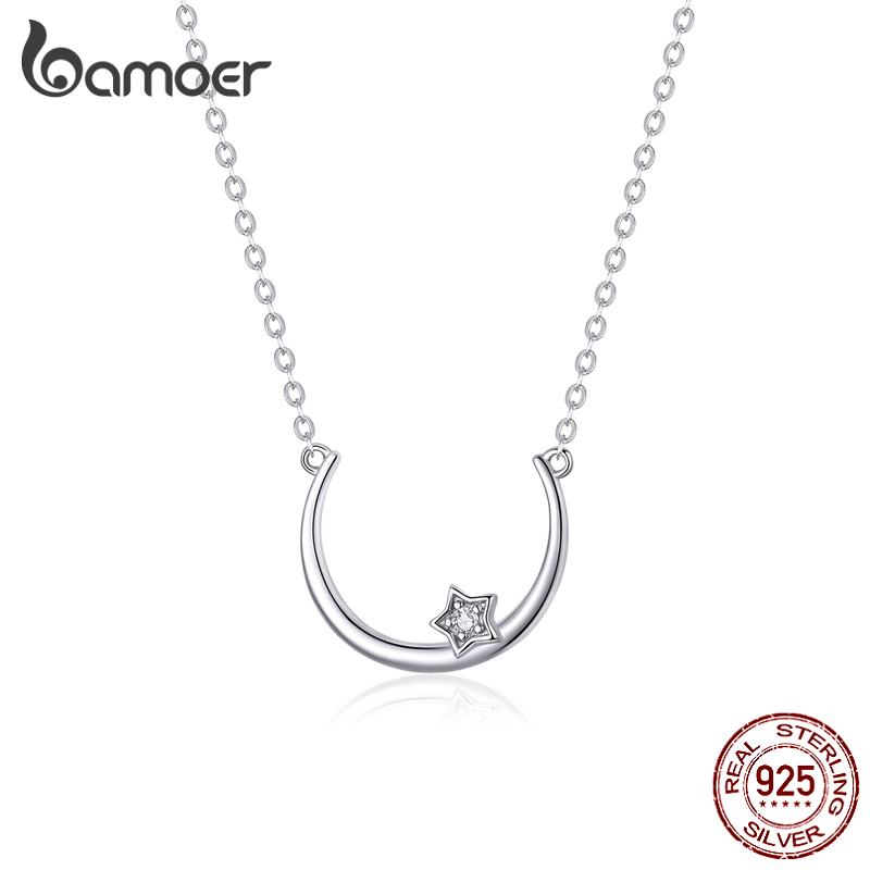 Bamoer Authentic 925 Sterling Silver Moon And Star Necklace For Women  Fashion Bijoux Wedding Statement Jewelry Gifts SCN382