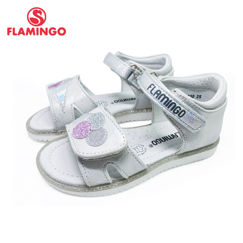 FLAMINGO  Summer Kids Sandals Hook& Loop Flat Arched Design Chlid Casual Princess Shoes Size 25-30 For Girls 201S-RF-1830/1831