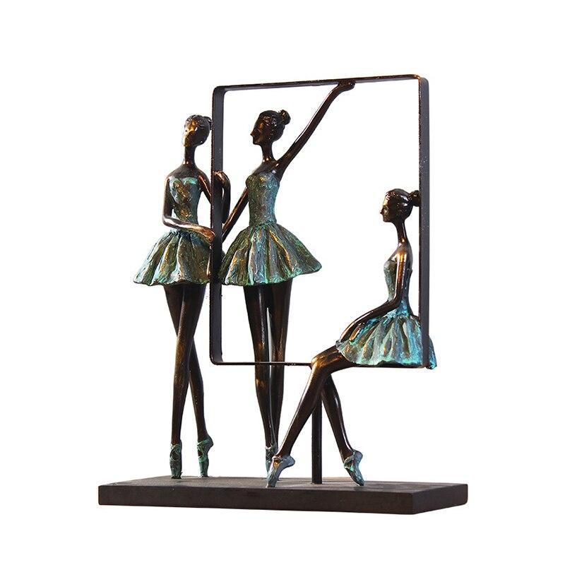 European Ballet Girl Sculpture Morden Geometric Frame Girl Statue Home Decoration Accessories Living Room Wedding Birthday Gift