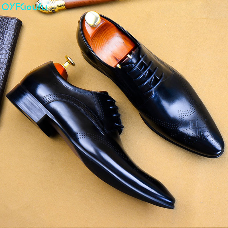 QYFCIOUFU Italian Men's Shoes Genuine Leather Luxury Brand Handmade Oxford Shoes Office Formal Party Wedding Mans Dress Shoes
