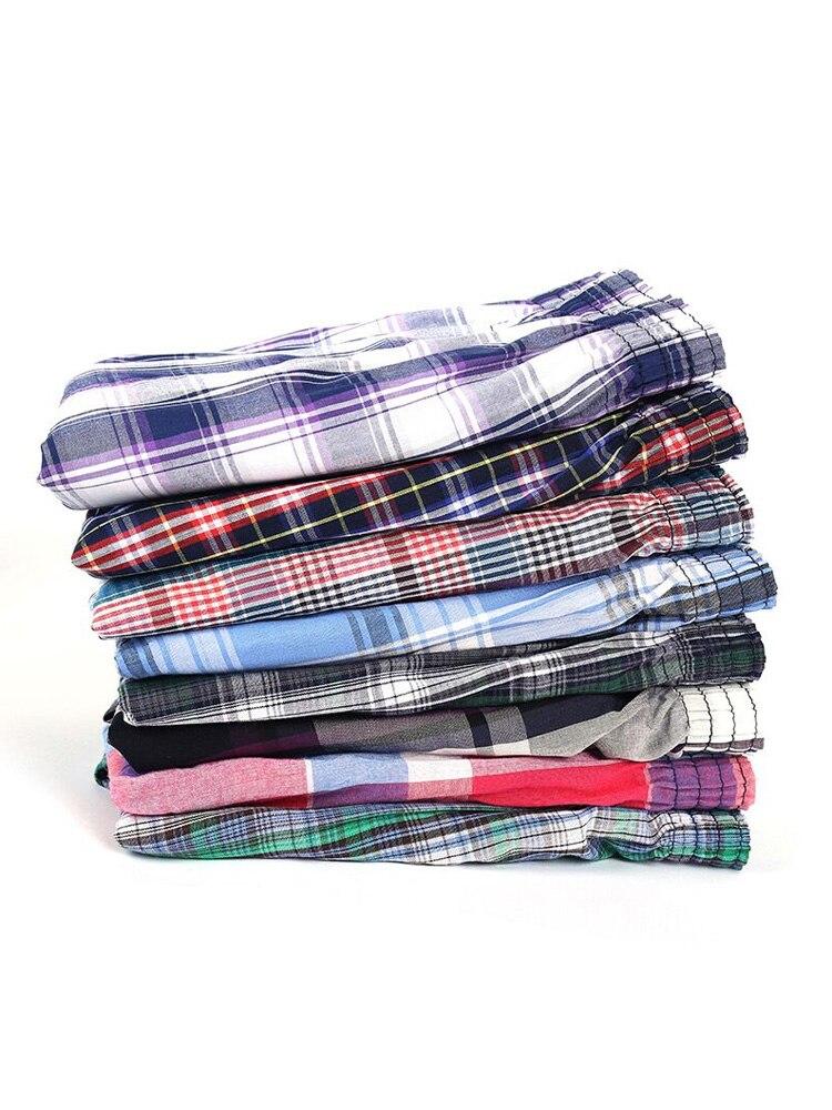 Boxers Shorts Panties Homewear Underpants-Quality Loose Comfortable Plaid Sleep Cotton