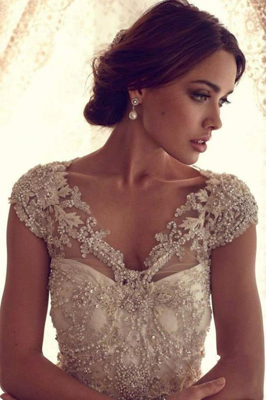 Luxury Beaded Wedding Jackets Bridal Bolero Cap Sleeve Lace