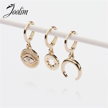 Joolim 3 pcs/set Gold Color Eye Star Moon Hoop Earring Chic Earringn American Hoop Earring