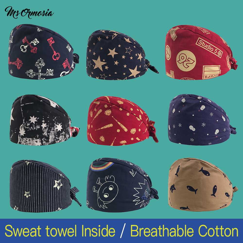 Medical Surgical Caps Dentists Medical Scrub Cap For Women And Men Surgical Hats Cotton Soft Sweat Band Dentistry Tooth Fairy
