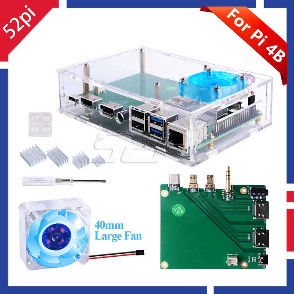 52Pi Acrylic Raspberry Pi Set-top Box Kit With 4010 Blue LED Light Fan And All Aluminum Heat SinkFor Raspberry Pi 4B