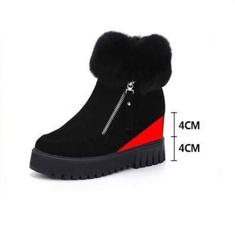 Женские зимние ботинки; ботильоны на плоской платформе, на молнии, на меху, из плюша; теплые флока, увеличивающие рост; женские зимние ботинки; коллекция 2018 года; модная женская обувь