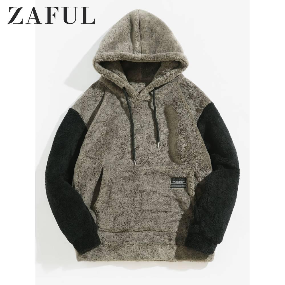 Купить zaful/зимняя мужская толстовка с цветными вставками и пушистым