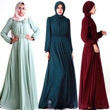 Украшение на пуговицах; шифоновое женское мусульманское платье с круглым вырезом; женские плиссированные юбки до щиколотки; однотонные цветные ленты; торжественное платье