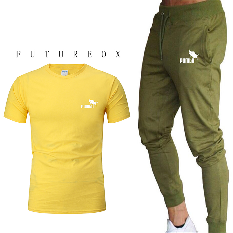 Men's New 100% Cotton Short Sleeve Sports Suit Gym Jogging Comfortable Sports Suit Printed Short Sleeve T + Sports Pants