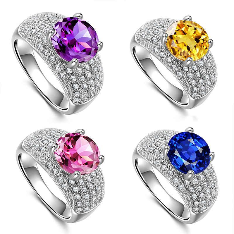 เงิน 925 แหวนเพชรมรกตแหวนสุภาพสตรีคลาสสิกแหวน zircon Rose golden หยกคริสตัลแหวนมรกต amethyst อินเดีย B677