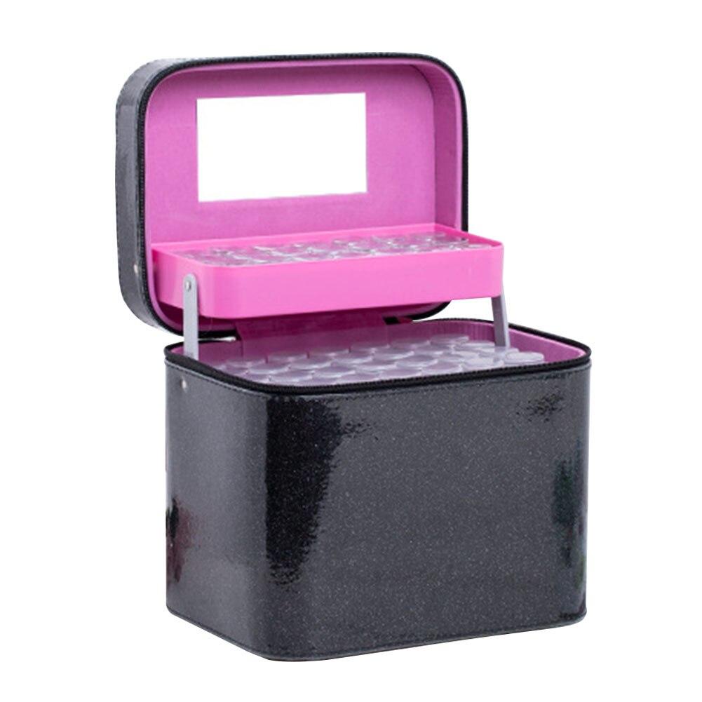 126 bouteille Non toxique exquis fermeture éclair broderie boîte de rangement affichage Durable solide diamant perles sac à main accessoire Case PU