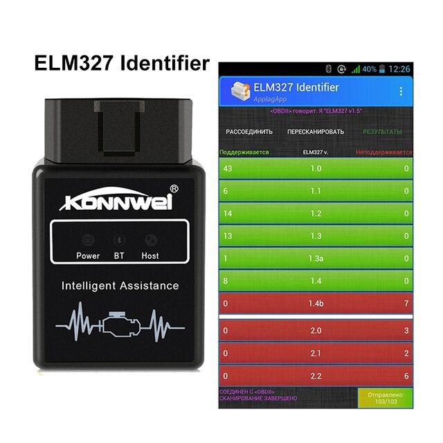 KONNWEI herramienta de diagnóstico KW912 ELM327 Elm 327, escáner OBD2 para teléfono Android, lector de código de motor de Error claro OBD II