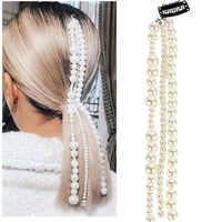 2020 mode Haar Clip Große Weiße Perle Quaste Haar Kette Haar Clips für Frauen kopfschmuck Haar Zubehör
