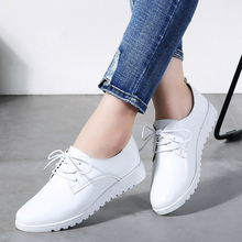 2020 Women Spring Casual Sneakers Shoes Women Wedge Genuine Leather Lace Up Shoes Flats Ballet Shoes Women Chaussure Femme 9935