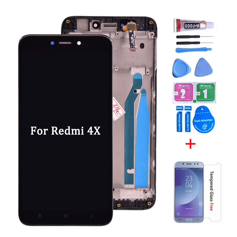 For <font><b>Xiaomi</b></font> <font><b>Redmi</b></font> <font><b>4X</b></font> LCD <font><b>Display</b></font> Touch Screen Digitizer Assembly Replacement For <font><b>Xiaomi</b></font> <font><b>Redmi</b></font> <font><b>4X</b></font> 5.0 inch lcd with <font><b>frame</b></font> image