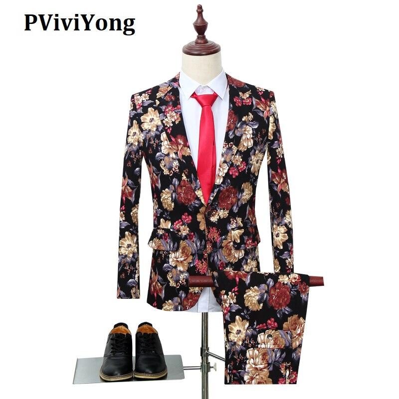 PViviYong Brand 2019 High Quality Suit Men,Performances,parties,weddings ,night Clubs,printed Suit Men Two-piece  TZ37