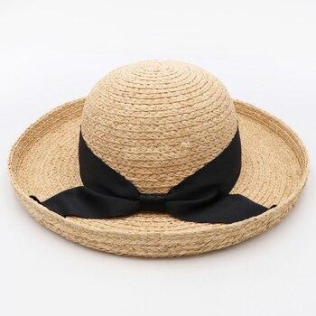 DANA XU femmes paille Panama chapeau Fedora plage soleil chapeau large bord paille retrousser chapeau UPF 30