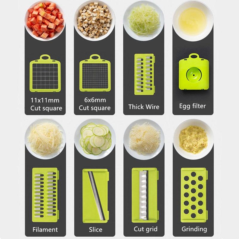 Coupe-légumes multifonctionnel, trancheur de fruits, râpe, broyeur, panier de vidange, trancheurs, Gadgets 8 en 1, accessoires de cuisine 2