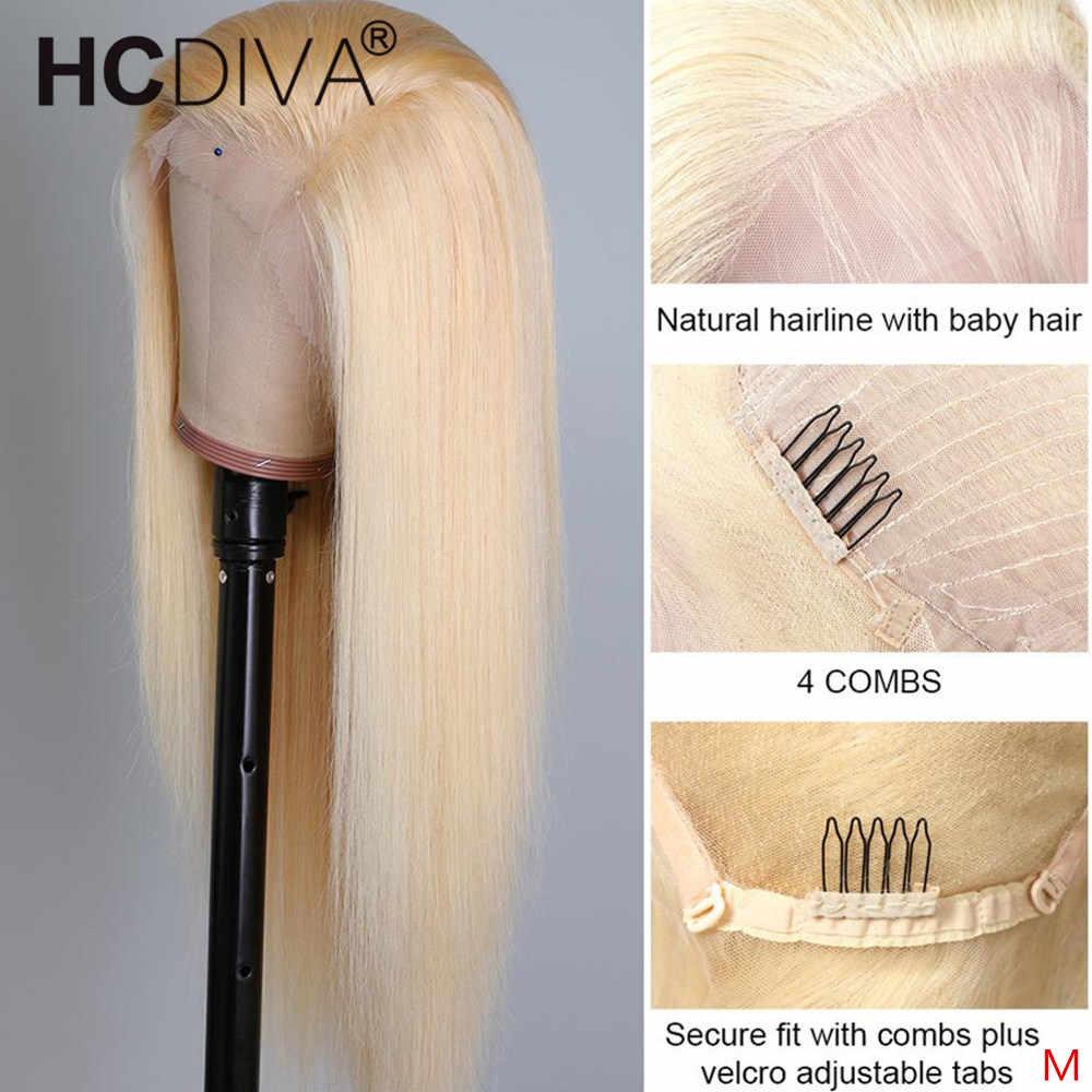 613 blond koronkowa peruka na przód 150% Glueless 13x4 Remy brazylijski prosto koronki przodu peruki z ludzkich włosów wstępnie oskubane 360 koronki przodu peruka