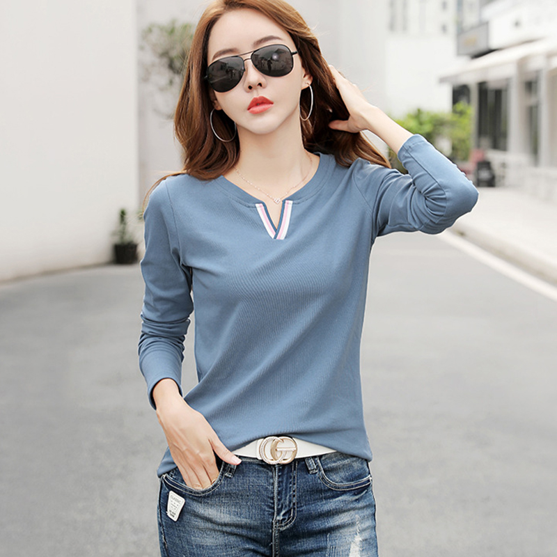 Shintimes Hit The Color V-Neck T-Shirt Female Long Sleeve Shirt Women Clothes 2019 Winter Korean Style Tees Cotton Tshirt Femme