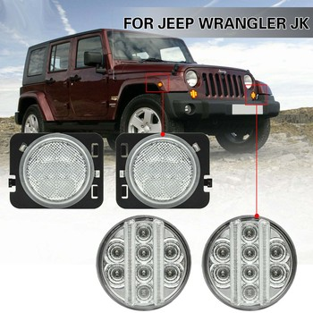 4PCS LED side marker light +turn signal lamp driving light for Jeep wranger 2007-2015
