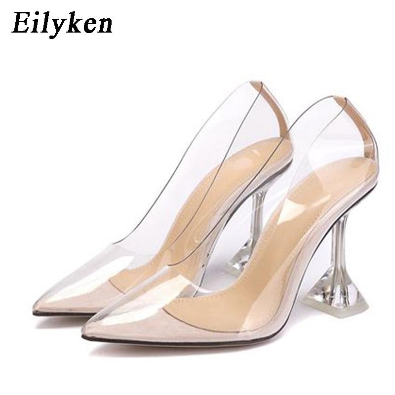 Eilyken Sexy PVC Transparent Pumps Sandals Perspex Crystal Heel High Heels Fashion Pointed Toe Party Nightclub Womens Pumps