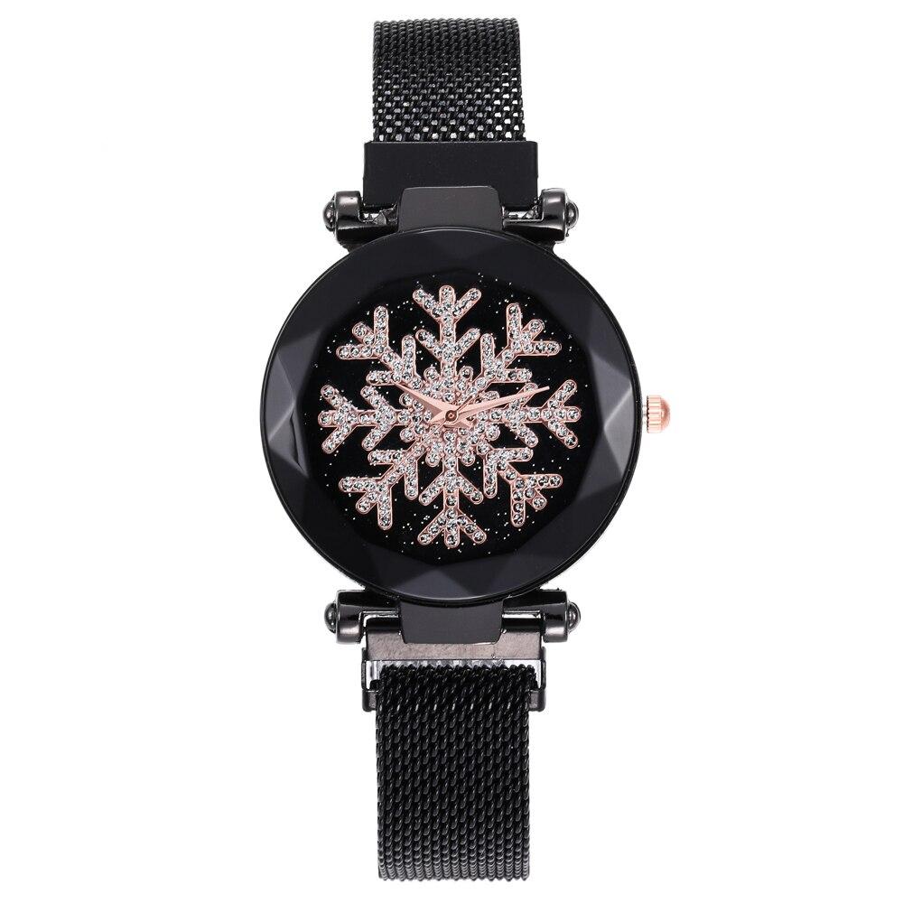 Magnet Watch Women Watches Quartz Gold Ladies Night Light Star Sky Watch Snowflake Ladies Clock Relogio Feminino Reloj Mujer