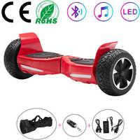 Scooter électrique rouge 8.5 pouces Hoverboard Bluetooth tout-terrain auto-équilibrage Scooter deux roues équilibre conseil tout-terrain + clé + sac